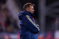 COLUMBUS, OH - NOVEMBER 07: Peter Gerhardsson of Sweden watches his team during a game between Sweden and USWNT at Mapfre Stadium on November 07, 2019 in Columbus, Ohio.