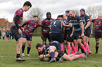 Coopers score their ninth try during Old Cooperians RFC vs Barking RFC, London 3 Essex Division Rugby Union at the Coopers Company and Coborn School on 14th March 2020