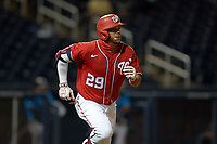 Washington Nationals Yadiel Hernandez (29) runs to first base during a Major League Spring Training game against the Miami Marlins on March 20, 2021 at FITTEAM Ballpark of the Palm Beaches in Palm Beach, Florida.  (Mike Janes/Four Seam Images)