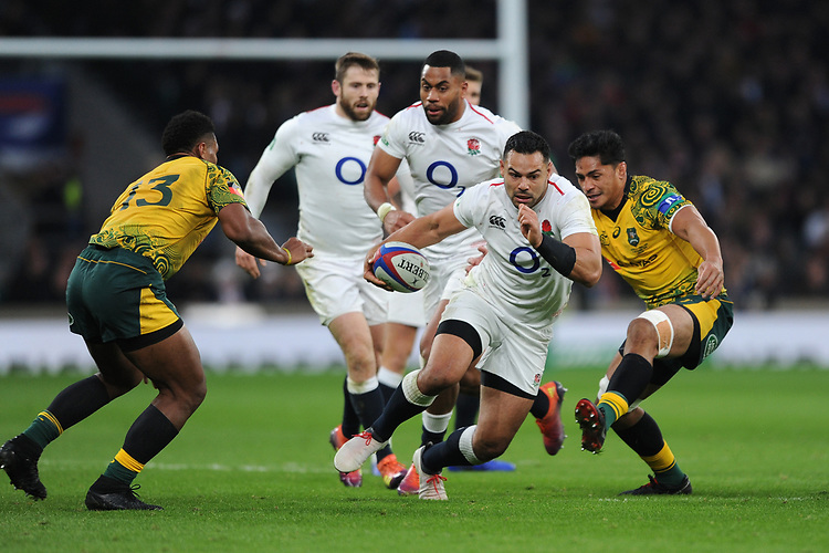 Ben Te'oof England breaks free during the Quilter International match between England and Australia at Twickenham Stadium on Saturday 24th November 2018 (Photo by Rob Munro/Stewart Communications)