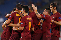 Calcio, Europa League: Roma vs Astra Giurgiu. Roma, stadio Olimpico, 29 settembre 2016.<br /> Roma's Kevin Strootman, left, back to camera (n. 6) celebrates with teammates after scoring during the Europa League Group E soccer match between Roma and Astra Giurgiu at Rome's Olympic stadium, 29 September 2016. Roma won 4-0.<br /> UPDATE IMAGES PRESS/Riccardo De Luca