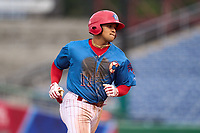 Clearwater Threshers Nicolas Torres (11) rounds the bases after hitting a home run during a game against the Fort Myers Mighty Mussels on July 29, 2021 at BayCare Ballpark in Clearwater, Florida.  (Mike Janes/Four Seam Images)