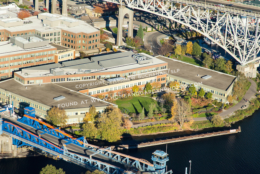 Aerial photo of Adobe Systems building in Seattle