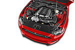Car stock 2017 Ford Mustang GT Premium 2 Door Coupe engine high angle detail view