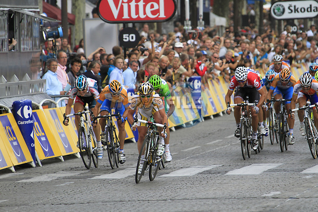 Mark Cavendish (GBR) HTC-Columbia heads for stage victory on the Champs-Elysees during the final Stage 20 of the 2010 Tour de France running 102.5km from Longjumeau to Paris Champs-Elysees, France. 25th July 2010.<br /> (Photo by Eoin Clarke/NEWSFILE).<br /> All photos usage must carry mandatory copyright credit (© NEWSFILE | Eoin Clarke)