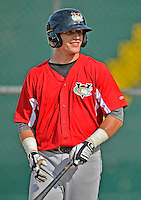 19 July 2012: Tri-City ValleyCats catcher Mike Cokinos awaits his turn in the batting cage prior to a game against the Vermont Lake Monsters at Centennial Field in Burlington, Vermont. The ValleyCats defeated the Lake Monsters 6-3 in NY Penn League action. Mandatory Credit: Ed Wolfstein Photo