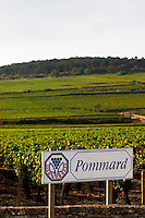 road sign vineyard pommard cote de beaune burgundy france