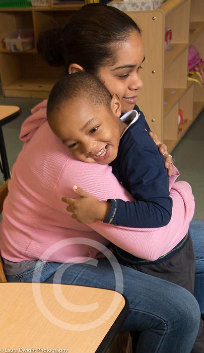Education Preschool Childcare toddler-2 year olds boy hugging teacher