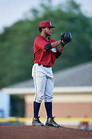 Mahoning Valley Scrappers starting pitcher Gregori Vasquez (47) looks in for the sign during a game against the Batavia Muckdogs on August 18, 2017 at Dwyer Stadium in Batavia, New York.  Mahoning Valley defeated Batavia 8-2.  (Mike Janes/Four Seam Images)