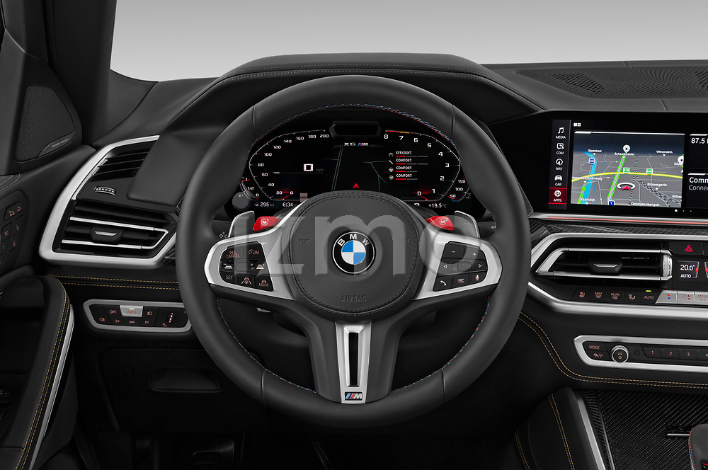 Car pictures of steering wheel view of a 2020 BMW X6-M Competition 5 Door SUV Steering Wheel