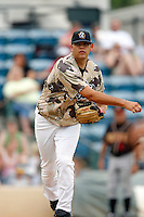 July 22 2007: Tim Schoeninger of the Rancho Cucamonga Quakes pitches against the Modesto Nuts at The Epicenter in Rancho Cucamonga,CA.  Photo by Larry Goren/Four Seam Images