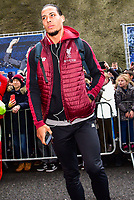 Virgil van Dijk of Liverpool (4) arriving before the Premier League match between Brighton and Hove Albion and Liverpool at the American Express Community Stadium, Brighton and Hove, England on 12 January 2019. Photo by Edward Thomas / PRiME Media Images.