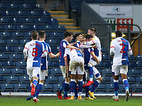 7th November 2020; Ewood Park, Blackburn, Lancashire, England; English Football League Championship Football, Blackburn Rovers versus Queens Park Rangers; Adam Armstrong of Blackburn Rovers celebrates with his team mates after scoring in the 73rd minute to give his side a 2-1 lead
