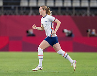 KASHIMA, JAPAN - AUGUST 2: Samantha Mewis #3 of the USWNT runs onto the field during a game between Canada and USWNT at Kashima Soccer Stadium on August 2, 2021 in Kashima, Japan.