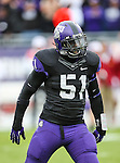 TCU Horned Frogs linebacker Kenny Cain (51) in action during the game between the Iowa State Cyclones and the TCU Horned Frogs  at the Amon G. Carter Stadium in Fort Worth, Texas. Iowa State defeats TCU 37 to 23.