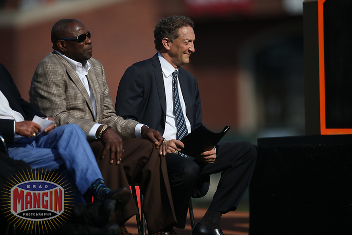 SAN FRANCISCO, CA - AUGUST 11:  Dusty Baker and Larry Baer watch the ceremony to retire the #25 jersey of Barry Bonds before the game between the Pittsburgh Pirates and San Francisco Giants at AT&T Park on Saturday, August 11, 2018 in San Francisco, California. (Photo by Brad Mangin)