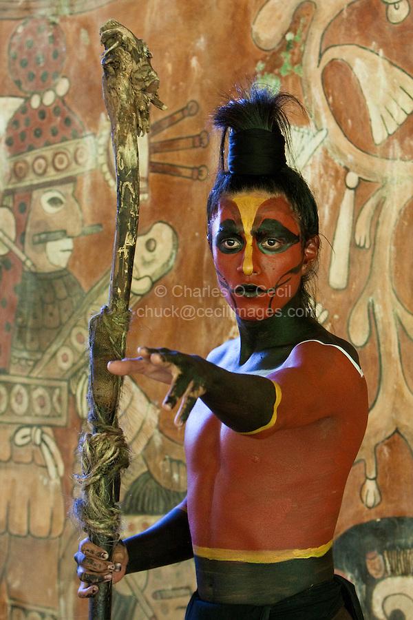 Mayan Dancer Representing a Rattle Snake or Coral Snake.  Xcaret, Riviera Maya, Yucatan, Mexico.
