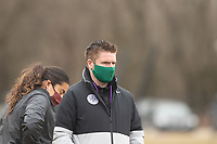 LOUISVILLE, KY - MARCH 13: Executive Vice President of Development James O'Connor of Racing Louisville FC watches warmups before a game between West Virginia University and Racing Louisville FC at Thurman Hutchins Park on March 13, 2021 in Louisville, Kentucky.