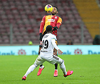 15th March 2020, Istanbul, Turkey;  Kevin Nkoudou of Besiktas beaten to the header by Ryan Donk of Galatasaray during the Turkish Super league football match between Galatasaray and Besiktas at Turk Telkom Stadium in Istanbul , Turkey on March 15 , 2020.