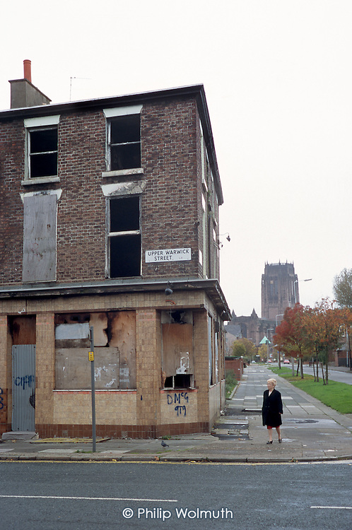 Empty and vandalised housing in an area of low demand in Liverpool 8, close to the Anglican Cathedral.