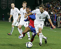 Steve Cherundolo #6 of the USA holds off Junior Diaz #15 of Costa Rica during a 2010 World Cup qualifying match in the CONCACAF region at RFK Stadium on October 14 2009, in Washington D.C.The match ended in a 2-2 tie.