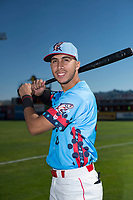 Spokane Indians infielder Diosbel Arias (21) poses for a photo before a Northwest League game against the Vancouver Canadians at Avista Stadium on September 2, 2018 in Spokane, Washington. The Spokane Indians defeated the Vancouver Canadians by a score of 3-1. (Zachary Lucy/Four Seam Images)