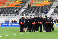 20130303 Copyright onEdition 2013©.Free for editorial use image, please credit: onEdition..Saracens players warm up in front of the East Stand the Premiership Rugby match between Saracens and London Welsh at Allianz Park on Sunday 3rd March 2013 (Photo by Rob Munro)..For press contacts contact: Sam Feasey at brandRapport on M: +44 (0)7717 757114 E: SFeasey@brand-rapport.com..If you require a higher resolution image or you have any other onEdition photographic enquiries, please contact onEdition on 0845 900 2 900 or email info@onEdition.com.This image is copyright onEdition 2013©..This image has been supplied by onEdition and must be credited onEdition. The author is asserting his full Moral rights in relation to the publication of this image. Rights for onward transmission of any image or file is not granted or implied. Changing or deleting Copyright information is illegal as specified in the Copyright, Design and Patents Act 1988. If you are in any way unsure of your right to publish this image please contact onEdition on 0845 900 2 900 or email info@onEdition.com