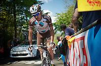 Christophe Riblon (FRA/AG2R-La Mondiale) up the Mur de Huy<br /> <br /> La Flèche Wallonne 2014