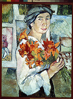 Self-portrait with yellow lilies<br /> Artist: Goncharova, Natalia Sergeevna(1881-1962)<br /> Museum: State Tretyakov Gallery, Moscow<br /> Method: Oil on canvas<br /> Created: 1907<br /> School: Russia<br /> Category: Portrait<br /> Trend in art: Expressionism