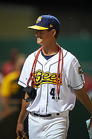 Burlington Bees pitcher Jason Hoppe (41) walks to the dugout after a game against the Clinton LumberKings on August 20, 2015 at Community Field in Burlington, Iowa.  Burlington defeated Clinton 3-2.  (Mike Janes/Four Seam Images)