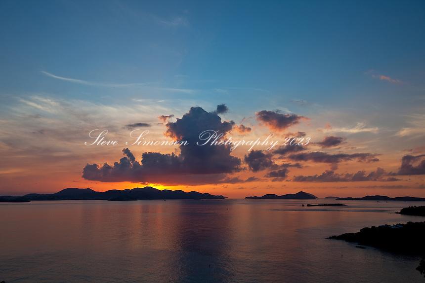 Sunset over St Thomas<br /> and Pillsbury Sound<br /> U.S. Virgin Islands