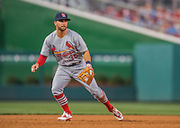 28 May 2016: St. Louis Cardinals infielder Greg Garcia in action against the Washington Nationals at Nationals Park in Washington, DC. The Cardinals defeated the Nationals 9-4 to take a 2-games to 1 lead in their 4-game series. Mandatory Credit: Ed Wolfstein Photo *** RAW (NEF) Image File Available ***