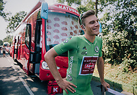 Although he's only 3rd in the green jersey standings, Marcel Kittel (DEU/Katusha-Alpecin) will be the wearer of it on stage 2 as the actual leader in the points classification (Gaviria) is wearing yellow & the runner up (Sagan) prefers wearing his rainbow jersey...<br /> <br /> Stage 2: Mouilleron-Saint-Germain > La Roche-sur-Yon (183km)<br /> <br /> Le Grand Départ 2018<br /> 105th Tour de France 2018<br /> ©kramon