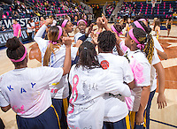 California women's team performs pre-game cheer against Arizona at Haas Pavilion in Berkeley, California on February 14th, 2014. California defeated Arizona 65 - 49