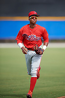 Philadelphia Phillies Malvin Matos (39) jogs back to the dugout during an Instructional League game against the Toronto Blue Jays on October 7, 2017 at the Englebert Complex in Dunedin, Florida.  (Mike Janes/Four Seam Images)