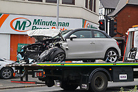 BNPS.co.uk (01202) 558833.<br /> Pic: Daily Echo/BNPS<br /> <br /> Two paramedics had a lucky escape when their ambulance overturned after colliding with a car.<br /> <br /> The Southern Western Ambulance Service emergency vehicle flipped onto its side in the dramatic crash with an Audi A3 car in Poole, Dorset.<br /> <br /> The ambulance driver managed to climb out of the wreckage through the rear doors while their colleague had to helped out through the door on the passenger side.