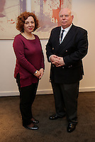 Pictured L-R: Elona Gjebrea, Deputy Minister and National TBH Co-ordinator of Albania with Stephen Chapman, Welsh Government Anti-slavery Co-ordinator Thursday 02 March 2017<br /> Re: Multi-agency Wales and Albania Anti-Slavery Meeting discussing issues of people trafficking by organised gangs, Cardiff, UK