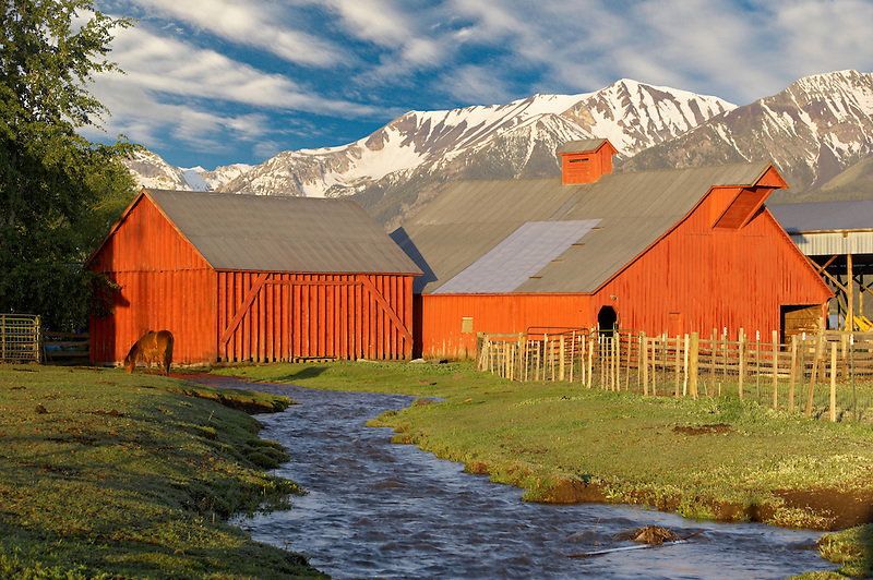 Farmland near Joseph with barn, stream and horse. Oregon