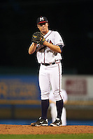 Mississippi Braves pitcher Jason Hursh (8) gets ready to deliver a pitch during a game against the Pensacola Blue Wahoos on May 27, 2015 at Trustmark Park in Pearl, Mississippi.  Pensacola defeated Mississippi 7-5 in fourteen innings.  (Mike Janes/Four Seam Images)