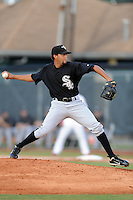 Bristol White Sox starting pitcher Kelvis Valerio #26 delivers a pitch during a game against the Johnson City Cardinals at Howard Johnson Field on August 19, 2013 in Johnson City, Tennessee. The White Sox won the game 5-4. (Tony Farlow/Four Seam Images)