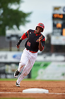 Batavia Muckdogs center fielder Thomas Jones (49) running the bases during a game against the Auburn Doubledays on June 19, 2017 at Dwyer Stadium in Batavia, New York.  Batavia defeated Auburn 8-2 in both teams opening game of the season.  (Mike Janes/Four Seam Images)