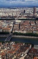 Europe/France/Rhône-Alpes/69/Rhône/Lyon: Vue générale - Tour du Crédit Lyonnais et quais de Saône depuis Notre-Dame-de-Fourvière