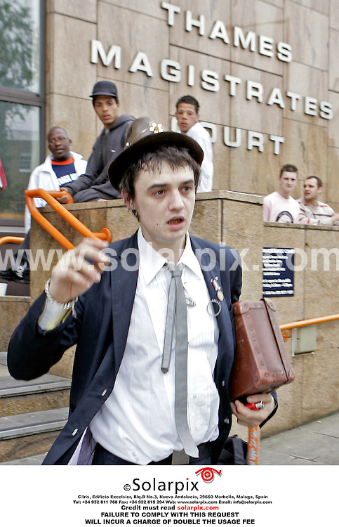 ALL ROUND PICTURES FROM SOLARPIX.COM..**NO PUBLICATION IN FRANCE, SCANDANAVIA, AUSTRALIA AND GERMANY - IN UK MAGS ONLY**.Babyshambles singer Pete Doherty pictured at Thames Magistrates, London today 16.05.06, where he pleaded not guilty to assault.  Job Ref: 2361/SFE..MUST CREDIT SOLARPIX.COM OR DOUBLE FEE WILL BE CHARGED.