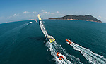 Team Brunel heading toward the finish line of the Volvo Ocean Race Leg 3 Abu Dhabi-Sanya on January 27, 2015 in Sanya, China. The Volvo Ocean Race 2014-15 is the 12th running of this ocean marathon. Starting from Alicante in Spain on October 11, 2014, the route, spanning some 39,379 nautical miles, visits 11 ports in 11 countries (Spain, South Africa, United Arab Emirates, China, New Zealand, Brazil, United States, Portugal, France, the Netherlands and Sweden) over nine months. The Volvo Ocean Race is the world's premier ocean race for professional racing crews. Photo by Victor Fraile / Power Sport Images