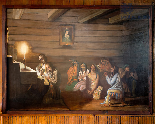 """May 17, 2012; Painting """"Last Communion of Father Louis De Seille"""" on the north wall of the Log Chapel. (Photo by Matt Cashore)"""