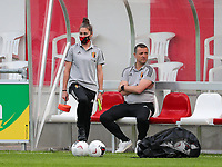 Assistant coach Audrey Demoustier of Belgium and head coach Ives Serneels of Belgium pictured before a friendly female soccer game between the national teams of Luxemburg and Belgium , called the Red Flames  in a preparation towards the qualification for the  FIFA Women's World Cup , on saturday 12 th of June 2021  in Wiltz , Luxemburg . PHOTO SPORTPIX BE   SPP   SEVIL OKTEM