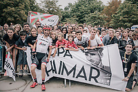 Haimar Zubeldia (ESP/Trek-Segafredo) with his fans and family on the Champs-Elysées after finishing his very last Tour de France<br /> <br /> 104th Tour de France 2017<br /> Stage 21 - Montgeron › Paris (105km)