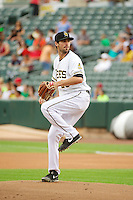 Caleb Clay (26) of the Salt Lake Bees before the game against the Tacoma Rainiers in Pacific Coast League action at Smith's Ballpark on July 9, 2014 in Salt Lake City, Utah.  (Stephen Smith/Four Seam Images)