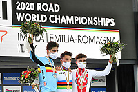 Picture by Simon Wilkinson/SWpix.com - 27/09/2020 - Cycling - UCI 2020 Road World Championships IMOLA - EMILIA-ROMAGNA ITALY - Road Race Elite Men - Wout Van Aert of Belgium, Julian Alaphilippe of France and Marc Hirschi of Switerzland on the podium after the Men's Elite Road Race. - SANTINI