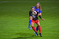 Woluwe's forward Stephanie Suenens (17) and Gent's defender Fran Meersman (5) pictured during a female soccer game between  AA Gent Ladies and Femina White Star Woluwe on the third matchday of the 2020 - 2021 season of Belgian Scooore Womens Super League , friday 2 nd of October 2020  in Oostakker , Belgium . PHOTO SPORTPIX.BE | SPP | STIJN AUDOOREN